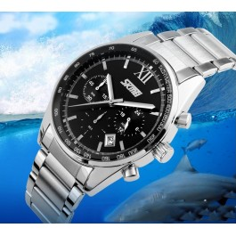 Мъжки водоустойчив часовник с метална верижка Skmei